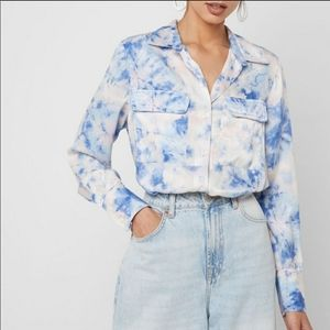 Topshop watercolor button down shirt pink blue 2